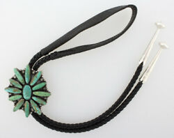 Natural Nevada Turquoise Cluster Bolo Tie By Navajo Artist Ella M. Linkin