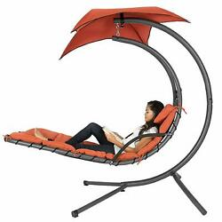 Bcp Hanging Curved Chaise Lounge Chair W/ Built-in Pillow Removable Canopy