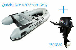Quicksilver 320 Sport Pvc Grey Inflatable Boat And Parsun 20hp Outboard Bundle
