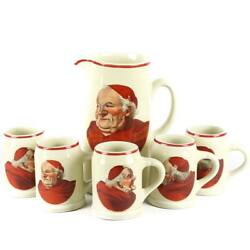 Vintage Red Monk Decal Beer Tankard/pitcher And Five Mugs By Hall