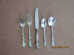 8 Gorham English Gadroon 1939 Sterling Silver 5 Piece Place Settings No Mono