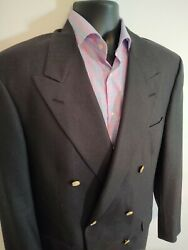 Brooks Brothers 41 R Double Breasted Wool Blazer Menand039s Gold Button Grey Coat