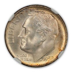1952 S Roosevelt Dime Silver 10c Ngc Ms68ft