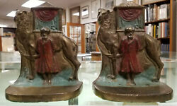 Middle Eastern Camel And Rider Bookends Colored Bronze C.1920 Unsigned