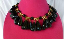 Vtg Yves Saint Laurent Ysl Black Faceted Glass Jet Runway Style Couture Necklace