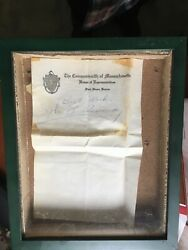 Rare Jfk Signed Note While In The Mass State House Of Representatives