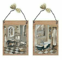 Victorian Pictures Bathroom Tub Sink Paris Style Wall Hangings Old Look Plaques