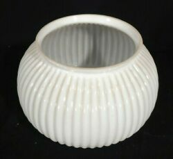 Set Of 3 Antique Ribbed Milk Glass Oil Gas Lamp Shades