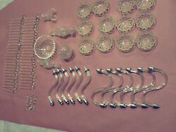 95pc Large Lot Of Antique Chandelierbowls Center Glass And Prisms Crystals Parts