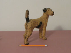 LARGE ANTIQUE HUBLEY WIRED HAIR FOX TERRIER CAST IRON DOORSTOP GREAT PAINTPATINA