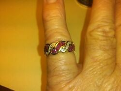 vintage 14 kt yellow gold ruby baguettes and diamonds size 7amp;3 4 ring $459.00