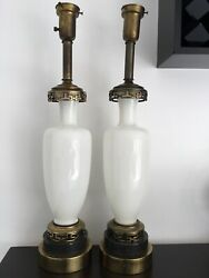 """Pair Of Antique Victorian White Opaline Glass Lamps W/ Brass Mounts H 28"""""""