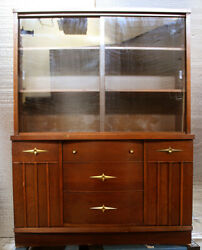 Vintage Antique China Curio Cabinet Server Buffet Breakfront Wood 2 Glass Doors