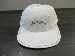 Life Is Good Hat Cap White Blue Youth Fitted Large Jake Kids Boys $13.22