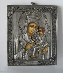 Antique Russian Silver Tooled Handpainted Russian Icon Mother Of God And Jesus