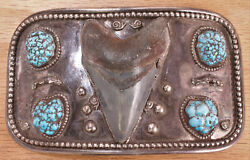 Amazing Sterling Silver Turquoise Megalodon Tooth Fossil Belt Buckle Dgid Cx675a
