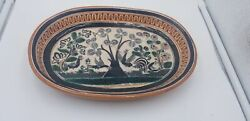 Vintage Jose Bernabe Tonala Jalisco Mexico Roosters And Trees Scenery Serving Dish