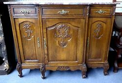 Antique French Oak Sideboard W/marble Top,3 Doors.w/carved Foliate And Shells 1930
