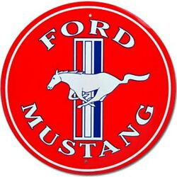 Ford Mustang Red 12 Round Tin Metal Sign Nostalgic Retro Home Garage Wall Decor