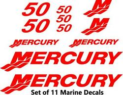 11pc Set Of 50 Hp Mercury Outboard Boat Cowling Decal Set Custom Color Choices
