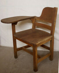 Antique Vintage Solid Oak Wood Wooden Right Hand Handed Child Student Desk Chair