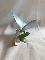 Herend Hand Painted Light Blue Porcelain Butterfly And Pink Flowers