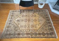 Antique Oushak Rug Turkey 4and0398and039and039 X 6and0392and039and039 Beige Rug Vintage Rug Art Deco Rug