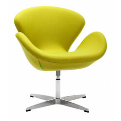 Stylish Tulip Like Occasional Accent Chair with Curving Back in Pistachio Green