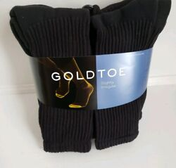 Gold Toe® Men#x27;s Black Cushion Cotton Crew Socks 6 Pair sock size 10 13