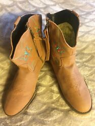 Western Dan Post Dingo Boot Company Youth Brown Embroidered Butterfly Sz 5 12