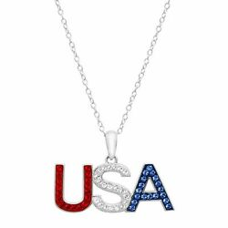 Red White And Blue And039usaand039 Pendant With Crystals In Sterling Silver 18