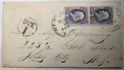 1870s RARE 134A 1c I-Grill vertical pair on cover - Distinctive Grill Points
