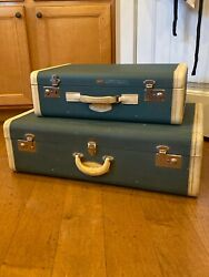 2 Vintage Rare Green Hartmann W/ Leather Trim Suitcases Luggage M.a.d - Display