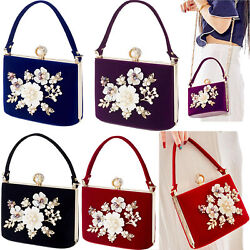 Flower Purse Rhinestones Velvet Clutch Evening Bags For Women Bridal Wedding Bag $29.24