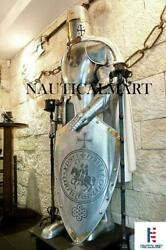 Knights Suit Of Armour Templar Full Size 6 Feet Armor Medieval Silver Finish