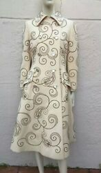 Vintage Originala Amazing 60's Couture Gold Thread Embroidered Coat By M. Bohen