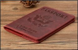 Genuine Leather Passport Cover Designed For United States