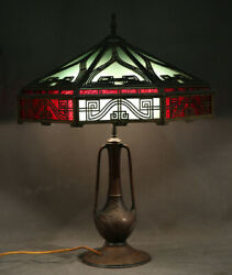 Antique Geometric Art Deco Table Lamp Leaded Glass With Bronze Base
