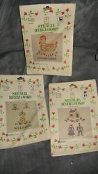 lot of 3 Stencil Heirlooms country series chicken Welcome Folk Art couple