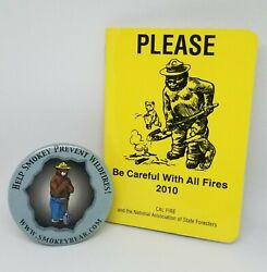 Vintage Smokey Bear Button Pin, New 2010 Pocket Planner Cal Fire State Foresters