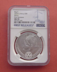 South Africa 2020 Big 5 - Rhino 5 Rand Silver Coin Ngc Ms70 First Releses