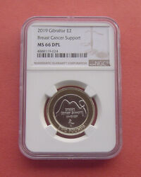 Gibraltar 2019 Breast Cancer Support 2 Pounds Bi-metallic Coin Ngc Ms66dpl