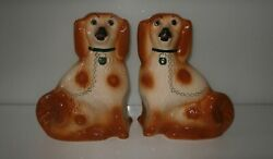 Antique Pair Decorative Staffordshire Fireside Spaniels With Glass Eyes C1850