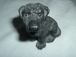 Vintage 1984 Black Lab Resin Dog Figurine Stone Critters Glass Eyes And Collar New