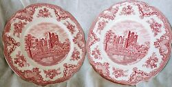 Lot Of 2 Johnson Brothers Old Britain Castles Dinner Plates 10 Inch Pink