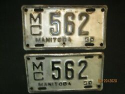 Rare Vintage License Plate Set 1950 Manitoba Canada Motorcycle Licence Plate