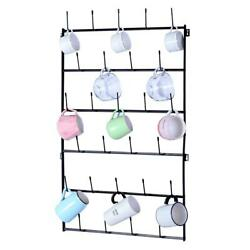 Large Coffee Mug Holder Wall Mounted Storage Rack Home Cup Organizer With Hooks