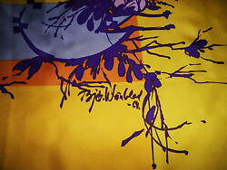 Gorgeous Signed Bjorn Wiinblad Early Piece Silk 31 Square Poster Scarf