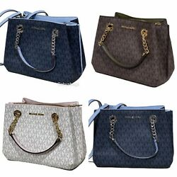 Michael Kors Jet Set Teagen Small Chain Satchel Crossbody Handbag MK Siganture $128.00