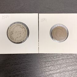 1894 Us Barber Quarter And Indian Head Penny